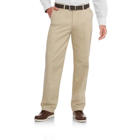 Big Men's Wrinkle Resistant Flat Front 100% Cotton Twill Pant with