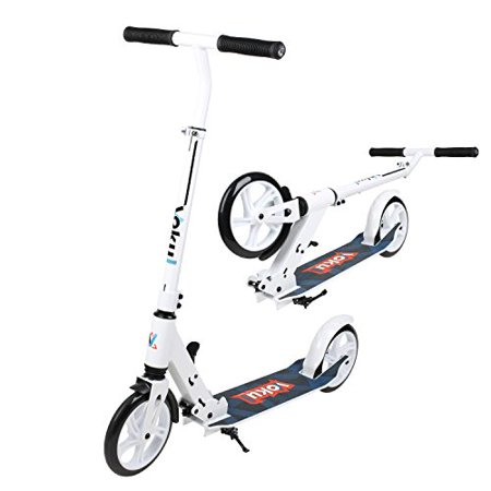 VOKUL Commuter Urban Kick Scooter for Teens Adults-Easy to Fold, Portable Carrying-White
