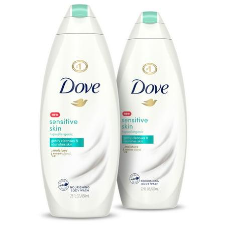 (2 pack) Dove Sensitive Skin Body Wash Sensitive Skin, 22 oz Glycerine Satin Shower Body Wash
