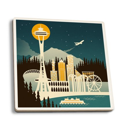 Seattle, Washington - Retro Skyline (no text) - Lantern Press Poster (Set of 4 Ceramic Coasters - Cork-backed, Absorbent) (Seattle Show Posters)