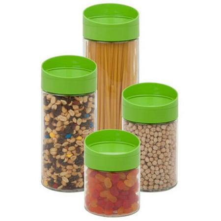 Honey Can Do Lime Glass Twist Lid Storage Jar Set (4 Pieces) - Honey Jar Halloween Costume