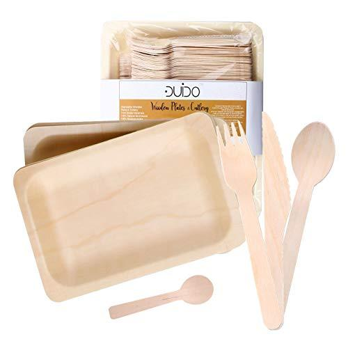 Biodegradable Disposable Wooden Cutlery Utensils – (Pack of 60) 12 7.8-inch Plates 12 Forks 12 Knives 12 Spoons 12 Small Spoons Set Eco-Friendly Silverware Compostable Flatware Better -