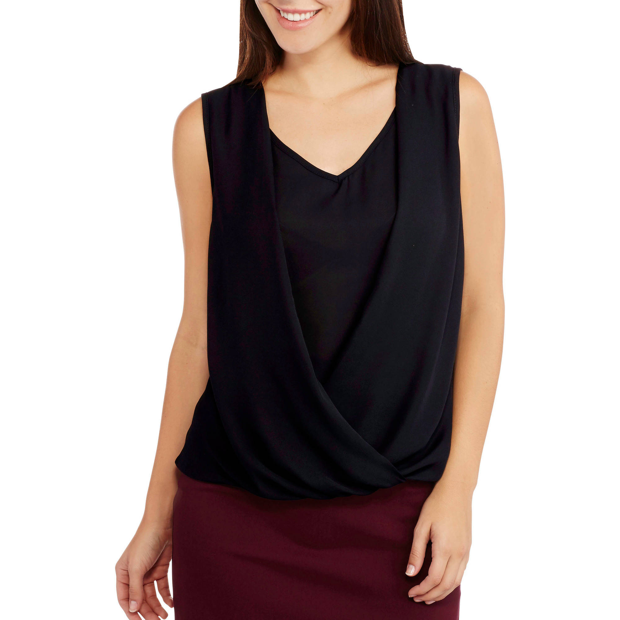 Glamour & Co. Women's Sleeveless 2fer Blouse