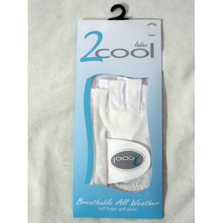 Quality Sports 2 Cool Half Finger Golf Glove (White, LEFT, Ladies) NEW