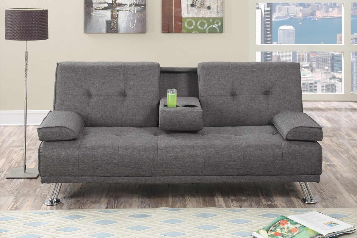 Simple Relax Modern Adjustable Sofa Bed Futon Gray Tufted