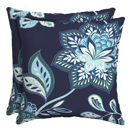 Better Homes & Gardens Blue Jacobean Floral 16 in. Square Outdoor Toss Pillow - Set of 2