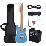 Muslady 28 Inch Kids Children ST Electric Guitar Kit Maple Neck Paulownia Body with Mini Amplifier Guitar Bag Strap Pick String Audio Cable Right-Handed Style
