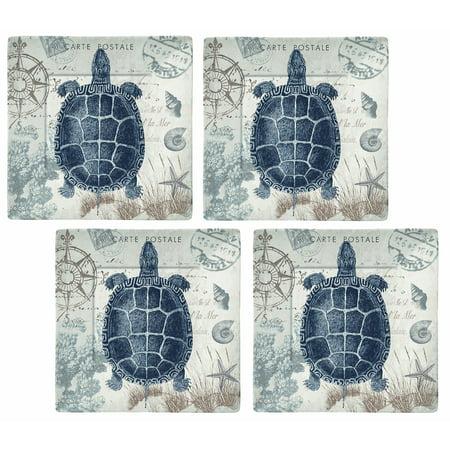 "Merritt International Seaside Postcard 8"" Square Plate - Turtle 4 Pack"