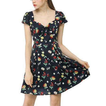 Women鈥榮 Fruit Print Sweetheart Neckline Cap Sleeves Dress Dark Blue L - image 3 de 6
