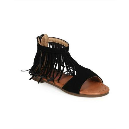 584baea01bbb Jelly Beans - EC16 Nubuck Open Toe Fringe Collar Gladiator Sandal ...