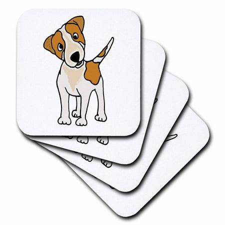 Jack Russell Terrier Coaster - 3dRose Funny Jack Russell Terrier original Art Cartoon, Soft Coasters, set of 4