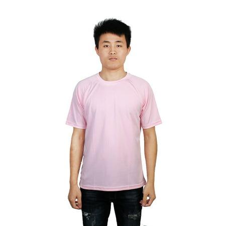 Men Workout Marathon Running Short Sleeves Tee Top Sports T-Shirt Light Pink (Marathon Running Shirts)