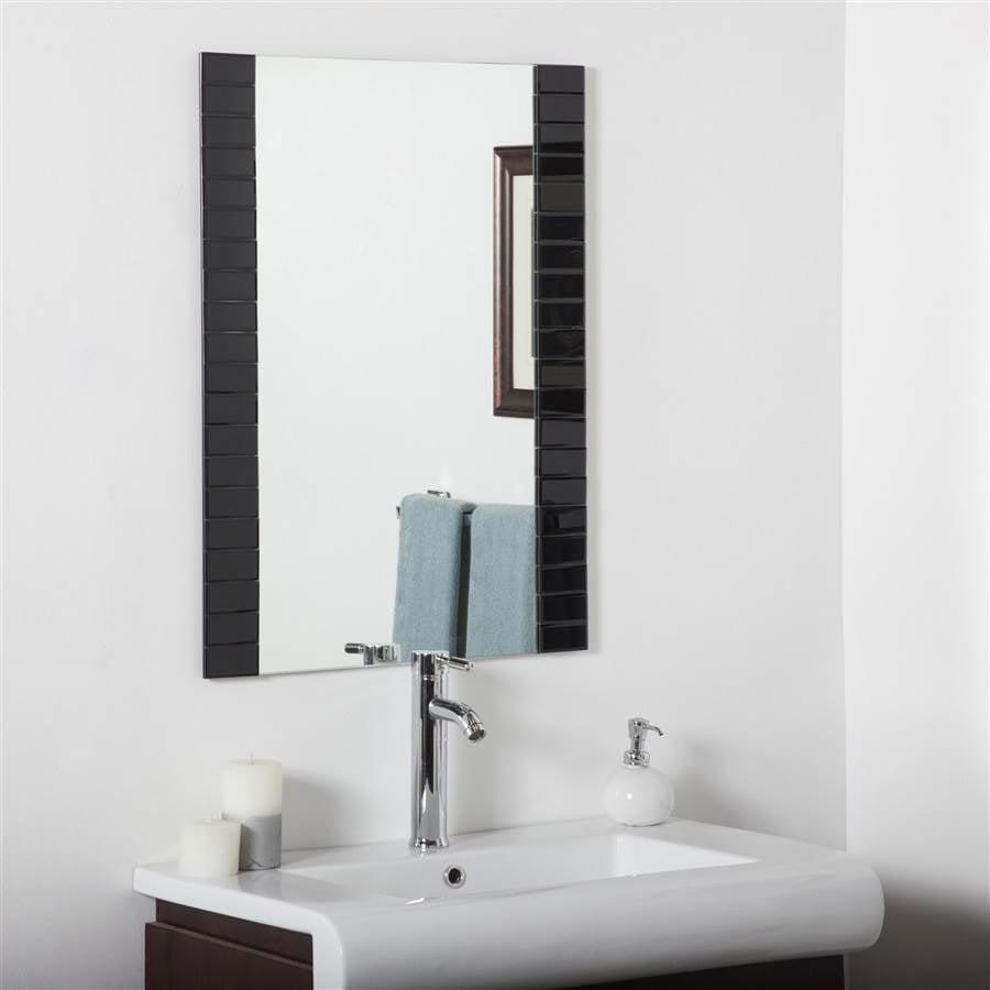 Beveled Bathroom Mirror in Black