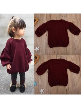 Toddler Tee Pullover Lantern Sleeves Sweater Tops Clothes Kids Baby Girls Outfits Coats