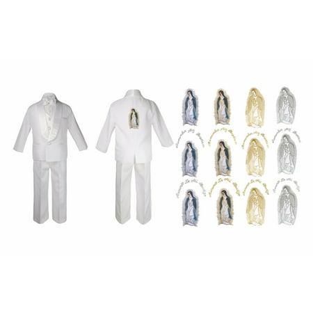 New Born Baby Boy Christening Baptism White Suit Maria On Back Sm-7 - Full Body Gorilla Suit