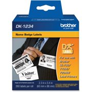 "Brother Die-Cut Name Badge Labels, 2-3/10"" x 3-2/5"", White, 260/Roll"