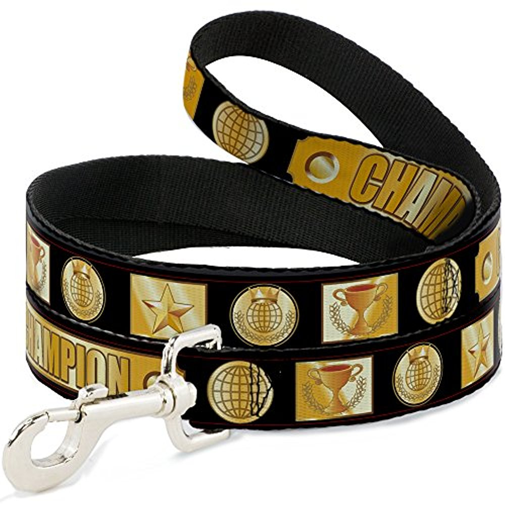 """Buckle-Down Pet Leash - CHALLENGER Repeat w Text Black White - 4 Feet Long - 1 2"""" Wide"""