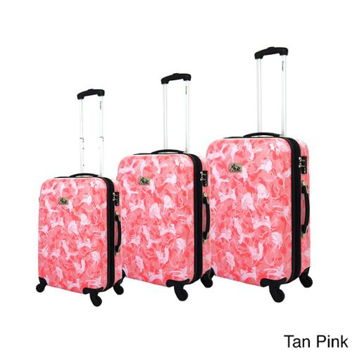 Chariot Armada 3-Piece Hardside Lightweight Expandable Upright Spinner Luggage Set Tan Pink