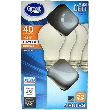 Great Value LED Light Bulbs, 40 Watt Equivalent, 4 Pack (48 Watt Led Tractor Lights)