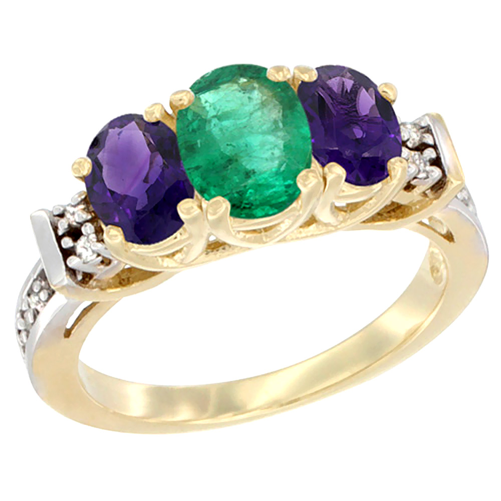 14K Yellow Gold Natural Emerald & Amethyst Ring 3-Stone Oval Diamond Accent