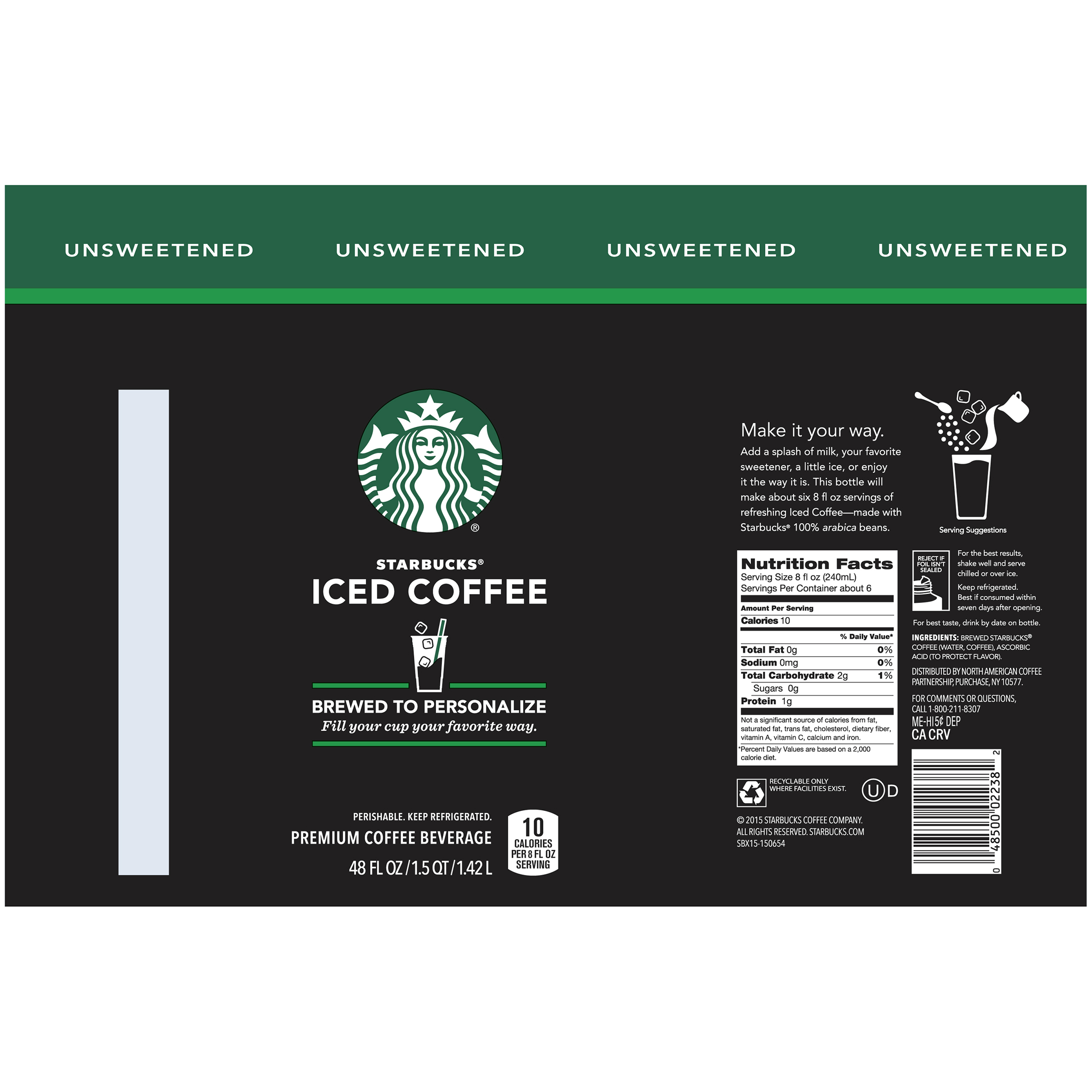 Starbucks Unsweetened Iced Coffee 48 Fl Oz Walmart Com