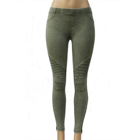 - Women's All Match Slim Pencil Pants Zipper Leggings