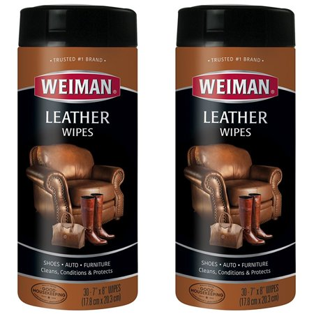 (2 Pack) Weiman Leather Wipes, 30 Ct (Best Wood Furniture Wipes)
