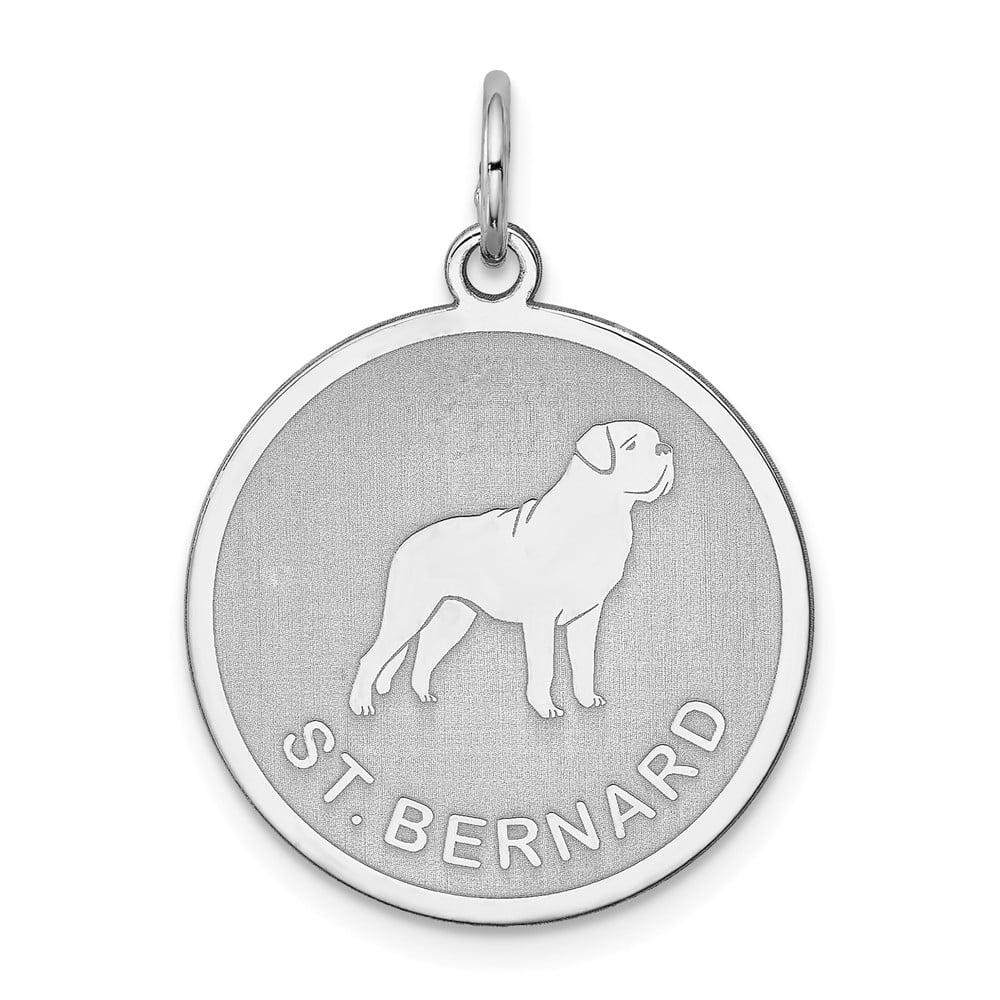 Sterling Silver Engravable St. Bernard Disc Charm (1in long x 0.7in wide)