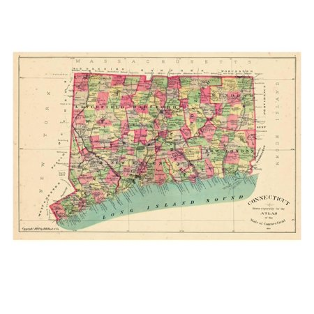 Connecticut In Us Map.1893 Connecticut State Map Connecticut United States Print Wall