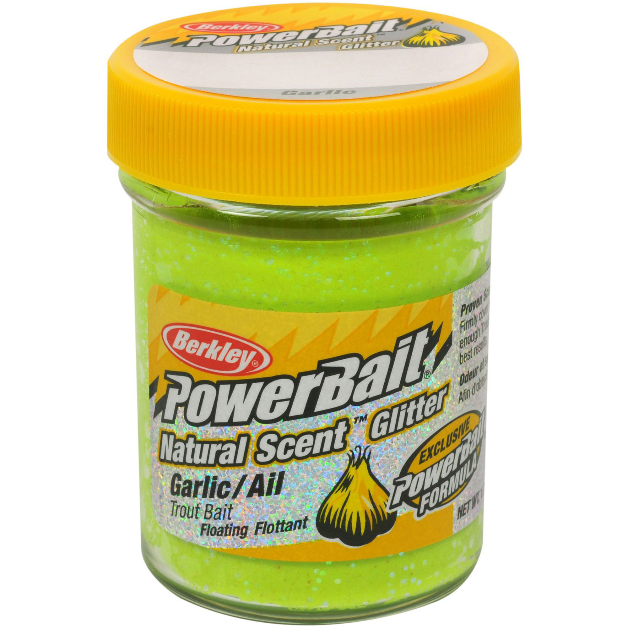 Berkley PowerBait 1.75 oz Trout Dough Bait with Natural Garlic Scent and Glitter, Chartreuse, #BGTGC2