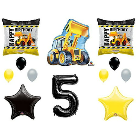 5th BIRTHDAY CONSTRUCTION Balloons Decoration Supplies Party Boy Dump Truck Bulldozer Fifth - Boys Birthday Supplies