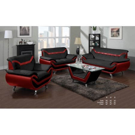 Beautiful Lovely Comfort Classic Red Black Bonded Leather Sofa Loveseat  Chair 3pc Sofa Set Living Room Furniture