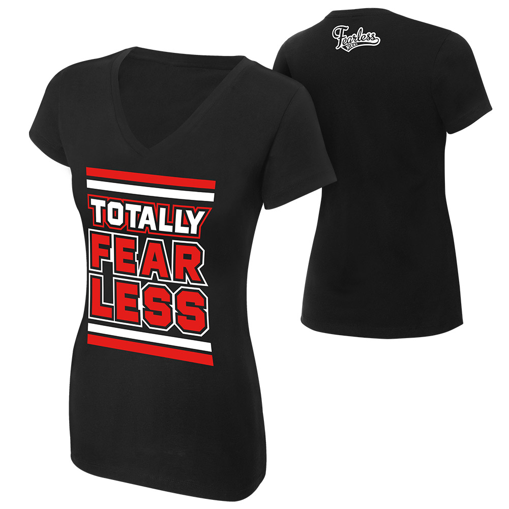 """Official Wwe Authentic Nikki Bella """"Totally Fearless"""" Women's V-Neck  T-Shirt Red Small"""