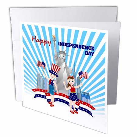 3dRose Happy July fourth celebration with Statue of Liberty, colorful stripes and stars near city skyline, Greeting Cards, 6 x 6 inches, set of 12