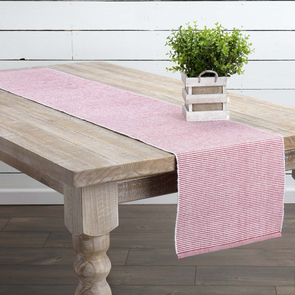 Cherry Red Farmhouse Tabletop Kitchen Ashton Cotton Striped Rectangle 13x72 Runner