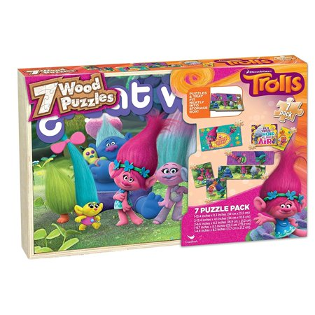 Dreamworks Trolls Wood Puzzles Pack in Wooden Box (Set of 7 Puzzles)