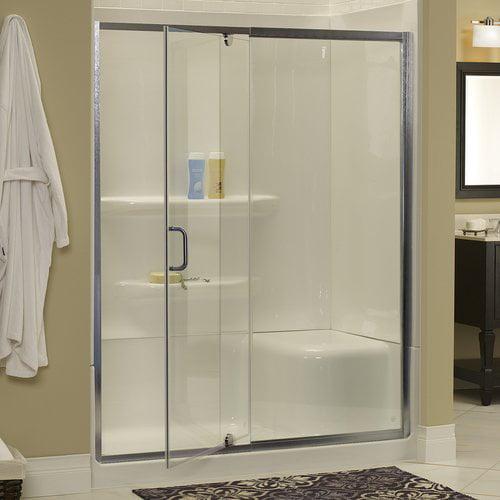 Hazelwood Home Brock 42'' x 69'' Single Pivoting Frameless Shower Door