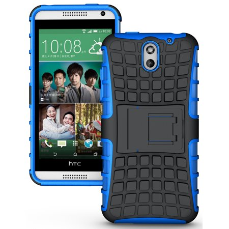 NAKEDCELLPHONE'S BLUE GRENADE GRIP RUGGED TPU SKIN HARD CASE COVER STAND FOR AT&T HTC DESIRE 610 PHONE (Htc 610 Phone Screen)
