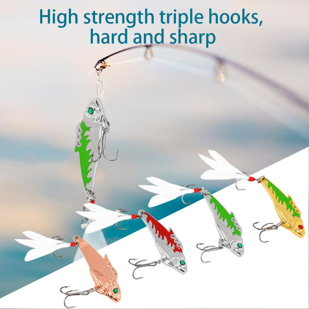 4Pcs Long Tail Metal Hard Artificial Bait Lures Crankbait with Barbed Hook Fishing Accessory , Fishing Bait, Lure by