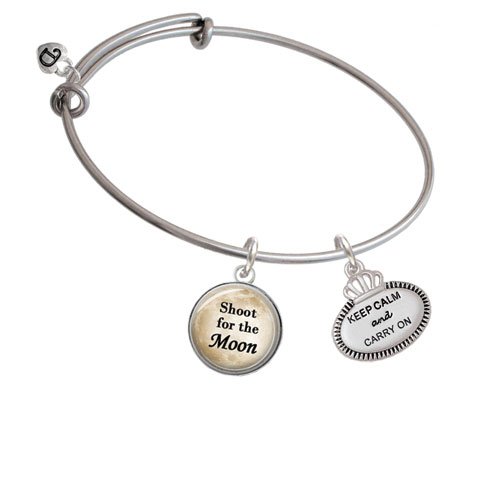 Keep Calm and Carry On Shoot for the Moon Bangle Bracelet