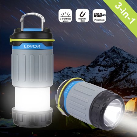 - Lixada 3W 330LM 1 LED Rechargeable Camping Lantern Light 3 Lighting Modes Power Bank with USB Port Magnet Ultra Bright Portable Tent Work Emergency Light Camping Maintenance Use
