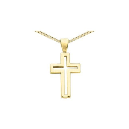 14K Yellow Gold Cross Pendant Necklace with