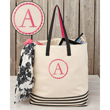 Oversized Canvas Monogram Zipper Top Tote with Striped Bottom