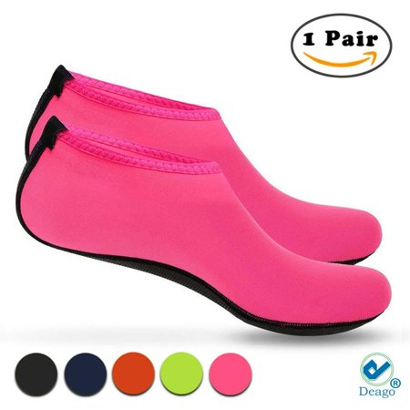 Pink Skin Water Shoes Aqua Beach Socks Yoga Exercise Pool Swim Slip On Surf (Size M)