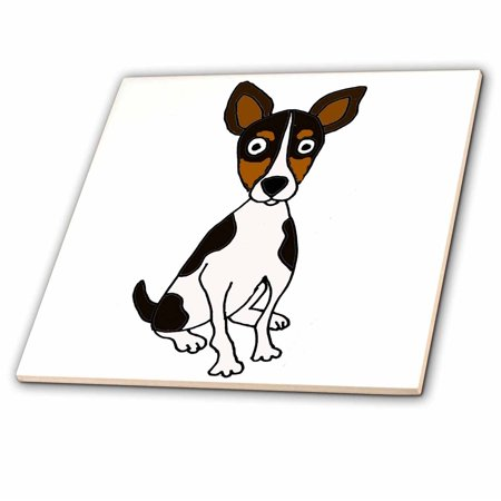 3dRose Funny Cute Rat Terrier Puppy Dog Cartoon Art - Ceramic Tile, 4-inch
