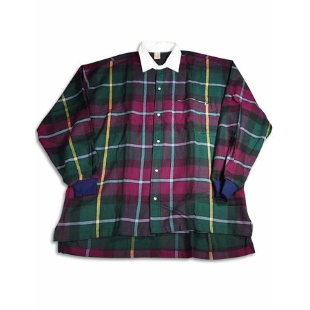 Large Plaid Shirt (High Profile - Slightly Irregular Mens Long Sleeve Plaid Rugby Shirt Green Plaid /)