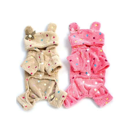 Lavaport Pet Soft Pajamas Polka Dot Coat Dog Warm Hoodie Clothes S-XXL