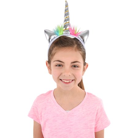 Soft Plush Silver Mystical Magical Unicorn Horn Headband Costume Accessory (Costume Horn)