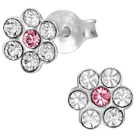 Hypoallergenic Sterling Silver Pink & Clear Crystal Flower Stud Earrings for Kids (Nickel - Sterling Silver Childrens Pink Flower