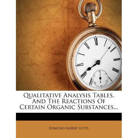 Qualitative Analysis Tables, and the Reactions of Certain Organic